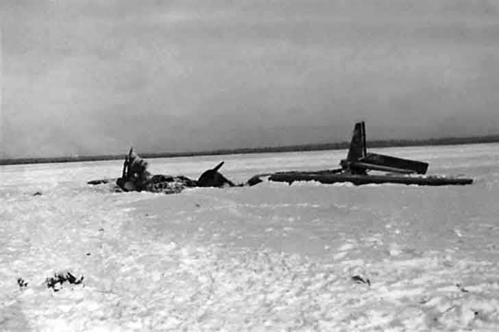 Burnt Junkers Ju-52 transport aircraft of the Luftwaffe