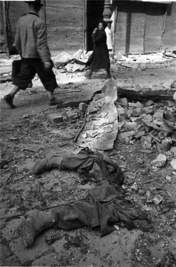 The dismembered human remains in the streets of liberated Vienna