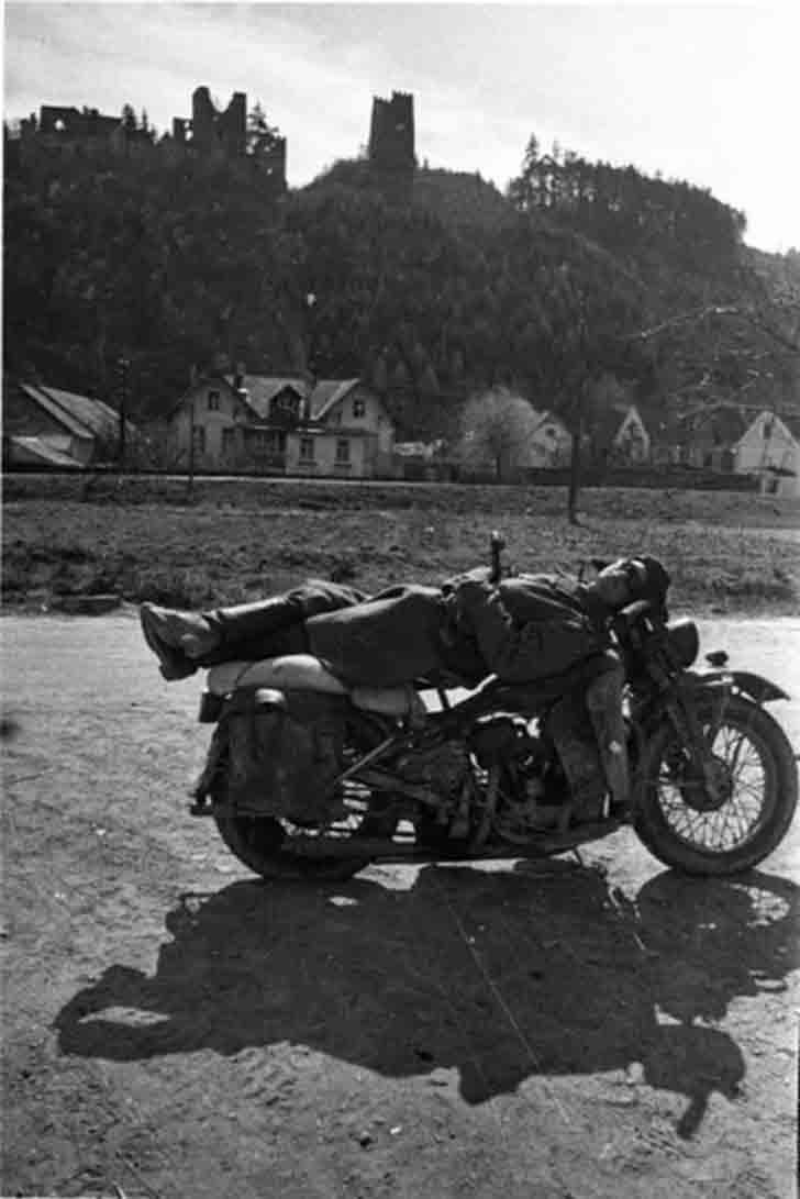 Soviet Harley-Davidson WLA42 motorcyclist in Austria