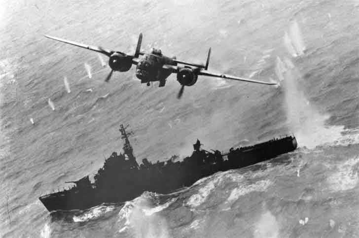 B-25 bomber attacks Japanese ship in the South China Sea