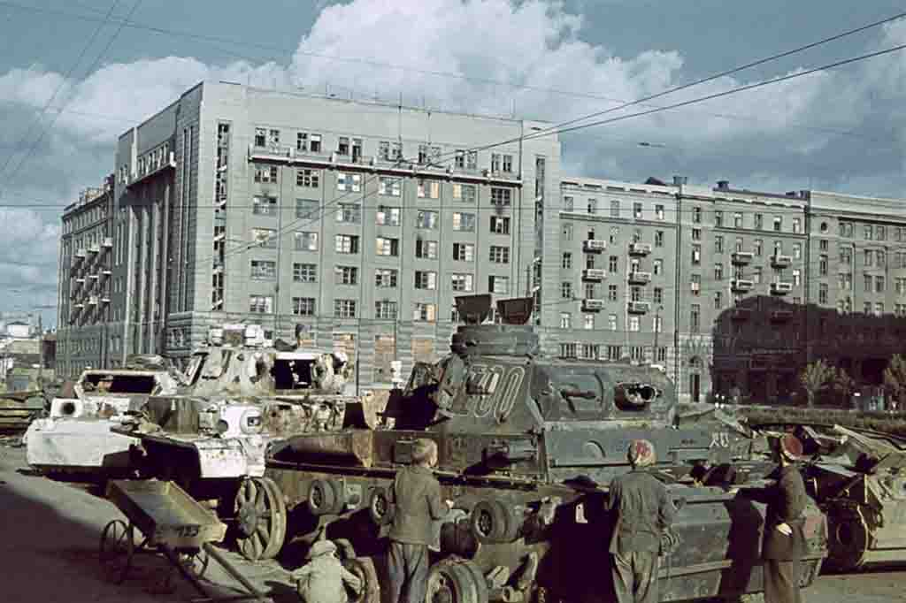 destroyed armored vehicles