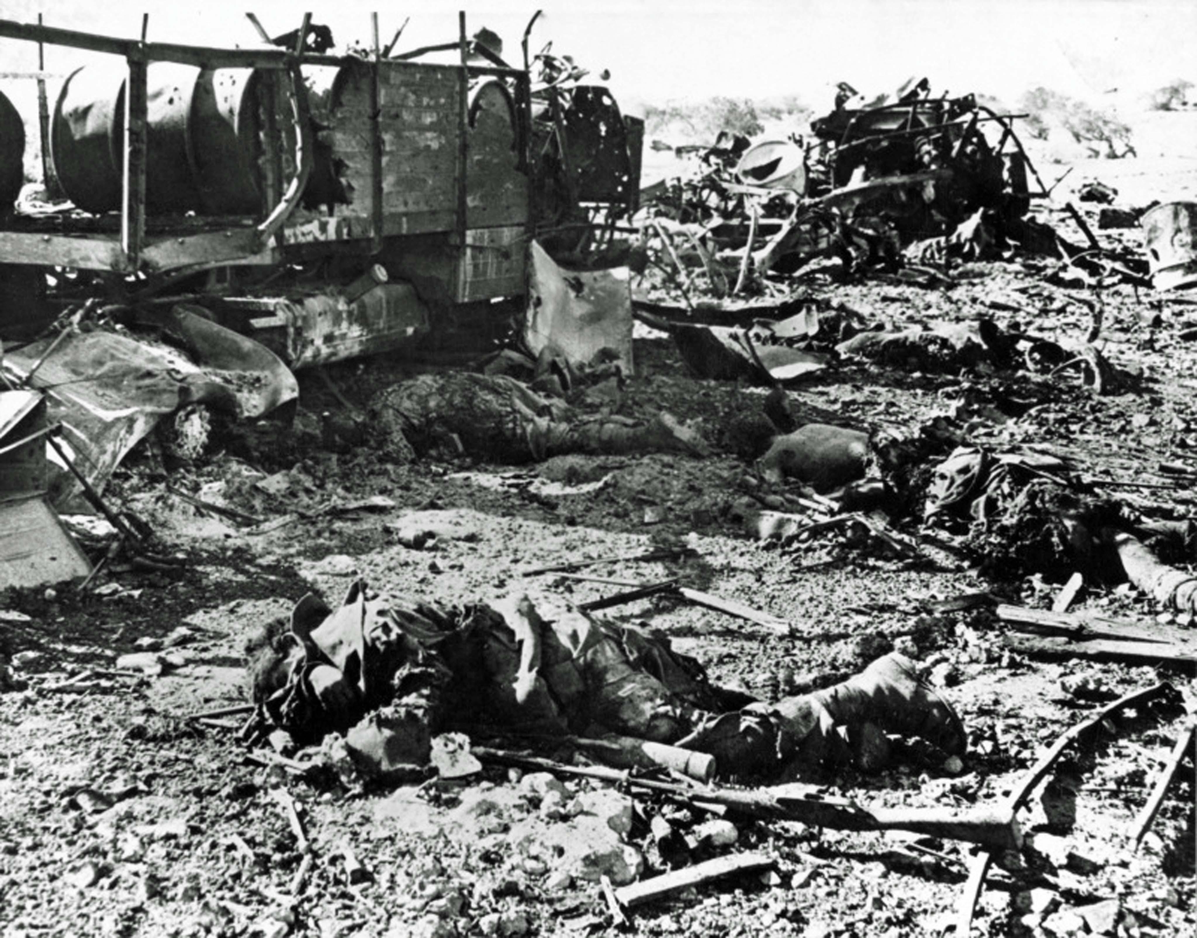 Destroyed Italian convoy