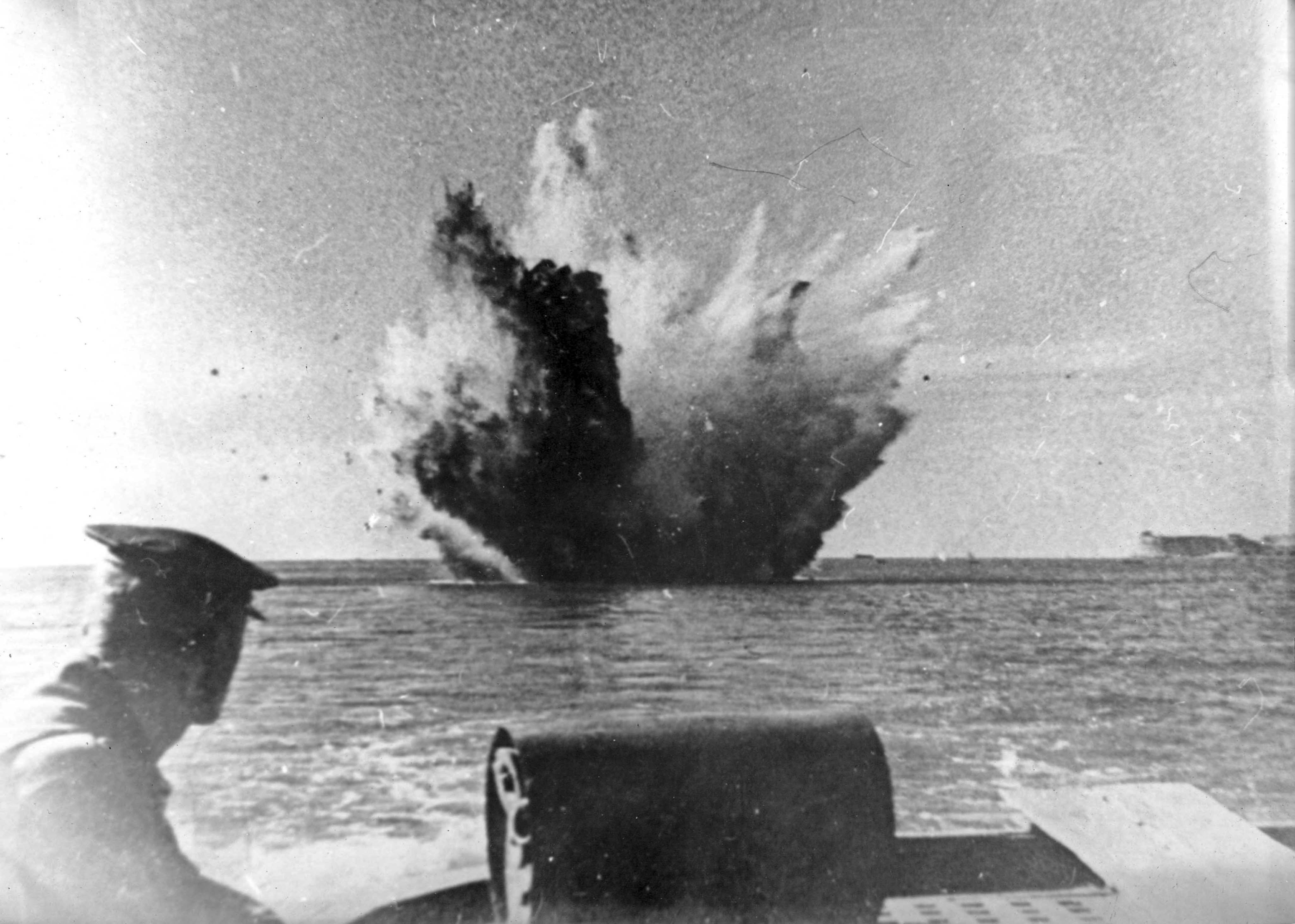 Explosions of depth charges