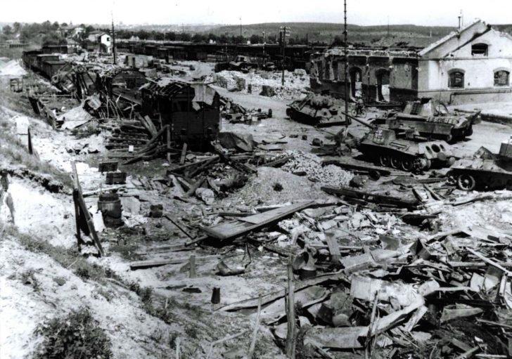 Destroyed railway station