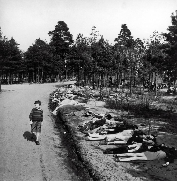 dead prisoners of the Bergen-Belsen concentration camp