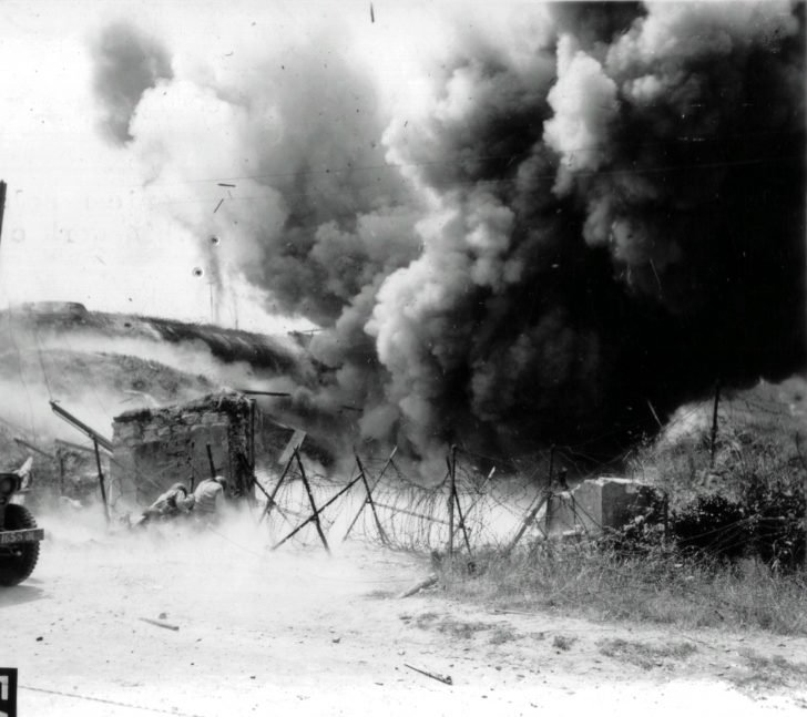 Explosion of the German bunker