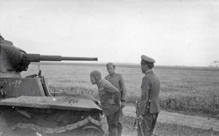 German soldier, Japanese pilot, Japanese officer, BT-7