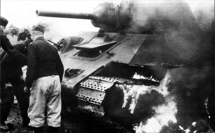 burning T-34 tank