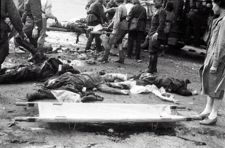 result of artillery shelling