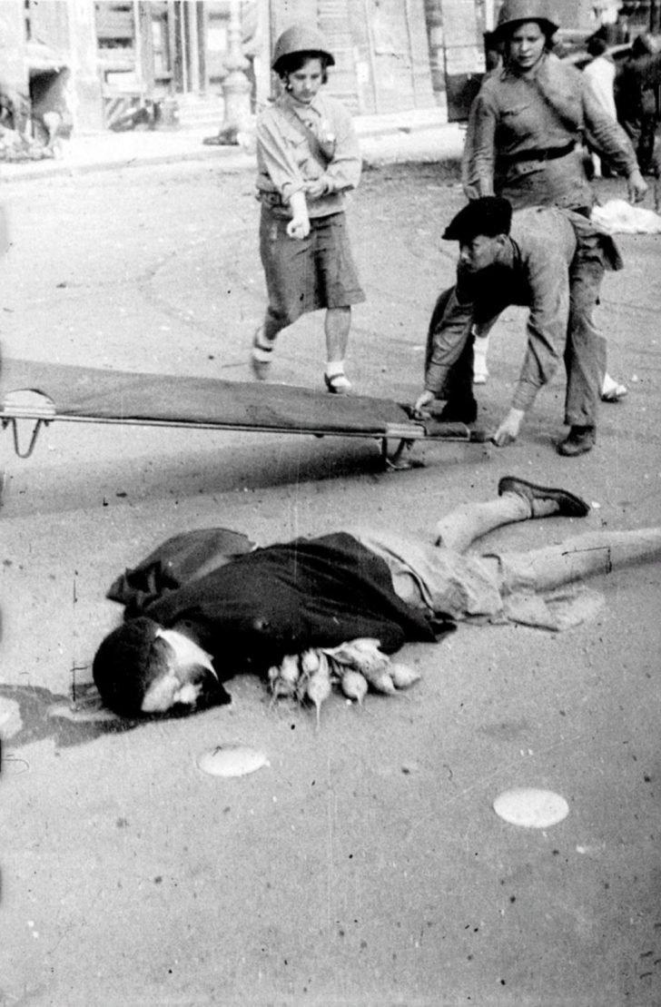 Victim of artillery bombardment