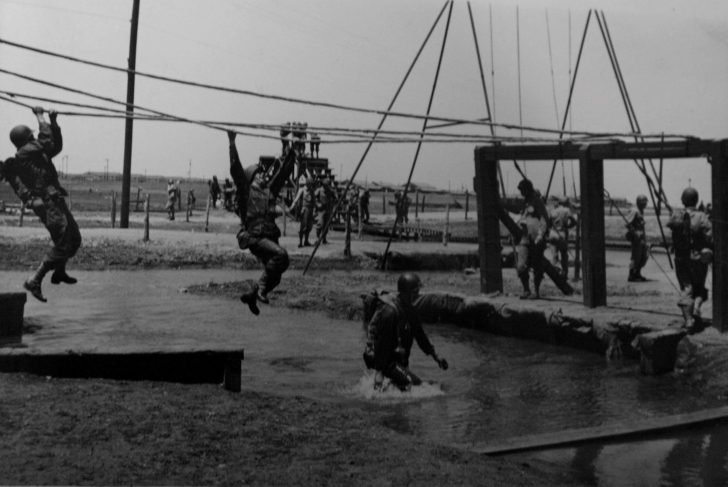 American soldiers in the training camp