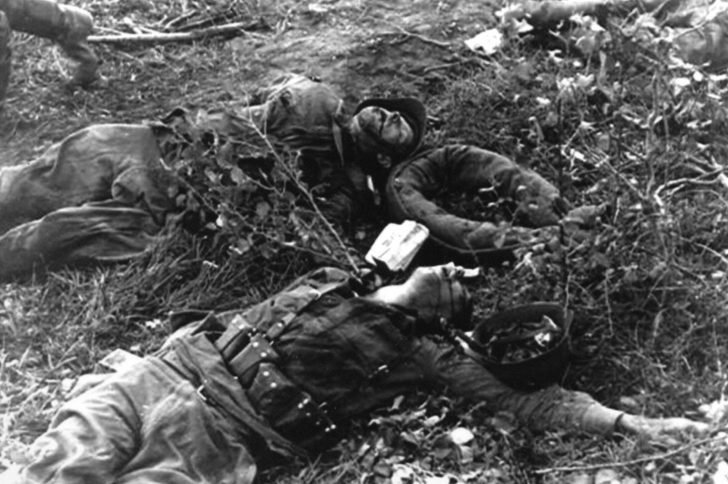 The corpses of infantrymen