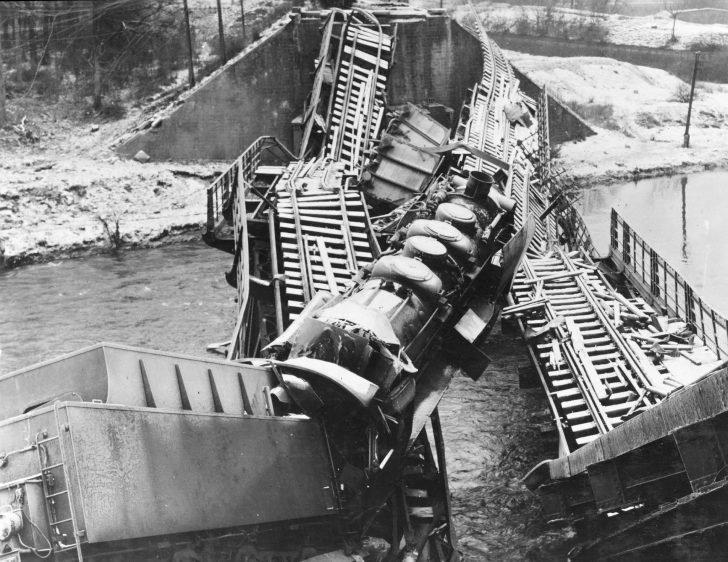 Broken German locomotive