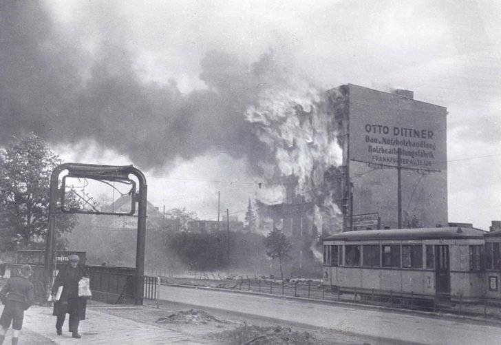 Burning building in Berlin