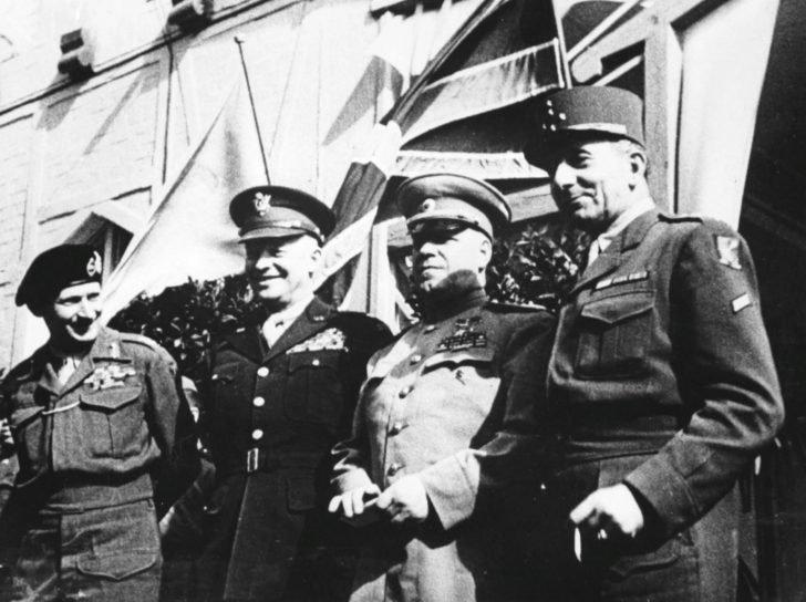Georgy Zhukov, Dwight Eisenhower, Bernard Montgomery, de Lattre de Tassigny