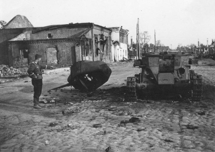German soldier, BT-7 tank