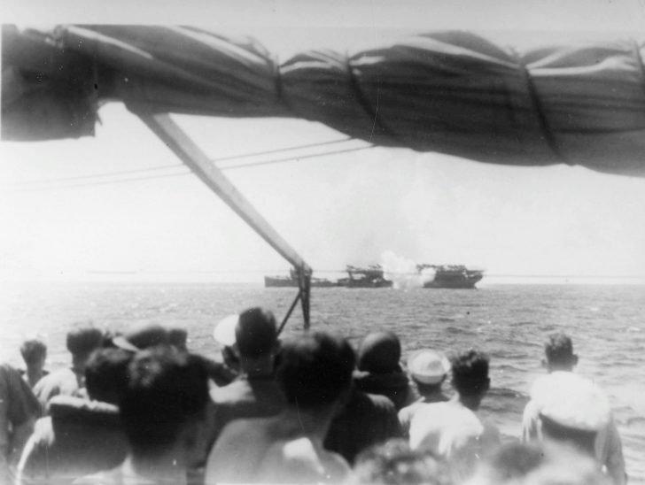 Torpedo hit at USS Langley