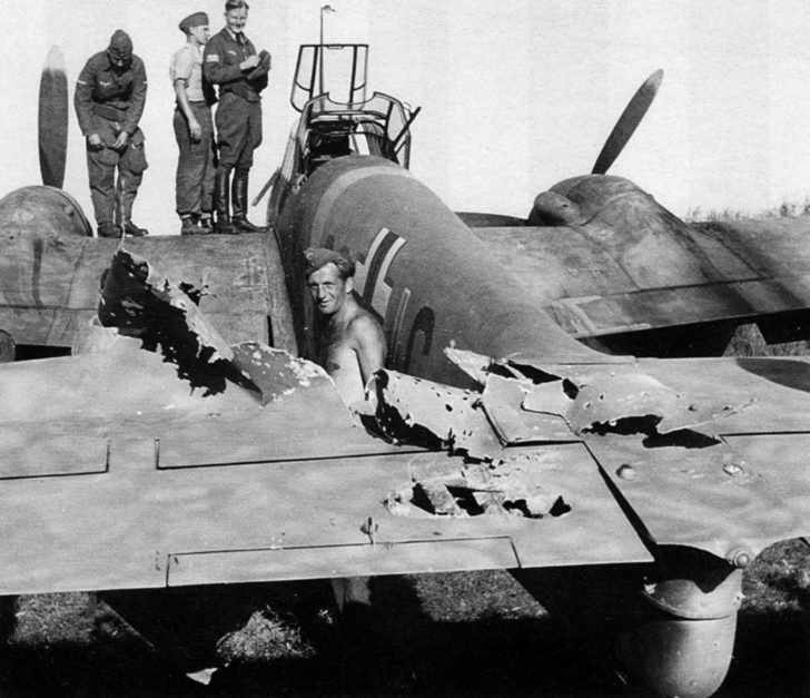 Messerschmitt Bf.110G-2 with traces of damage from the Soviet anti-aircraft fire