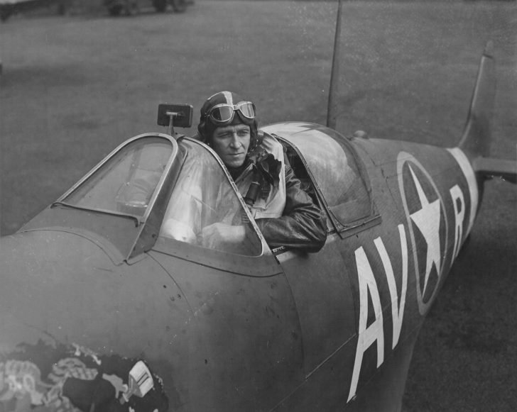 Captain Don Willis in the cockpit of his Spitfire Mk.Vb fighter