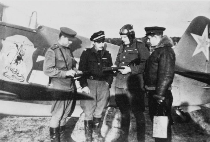 Major General Georgy Zakharov and Lieutenant Joseph Risso near the Yak-3 fighter