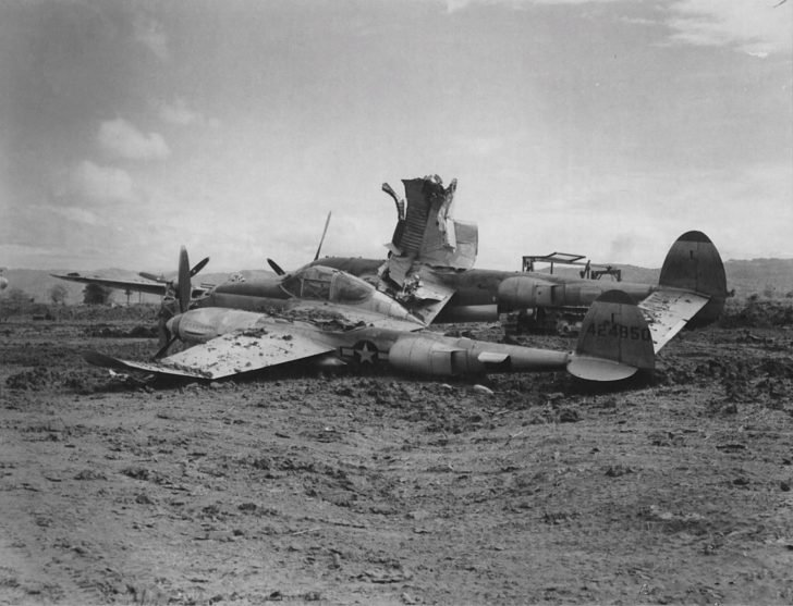 American P-38 fighter damaged at the airfield during a Japanese raid on Mindoro Island