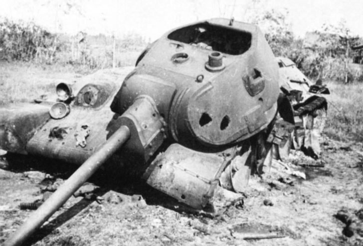 T-34 tank destroyed by an internal explosion in the Battle of Mozhaisk