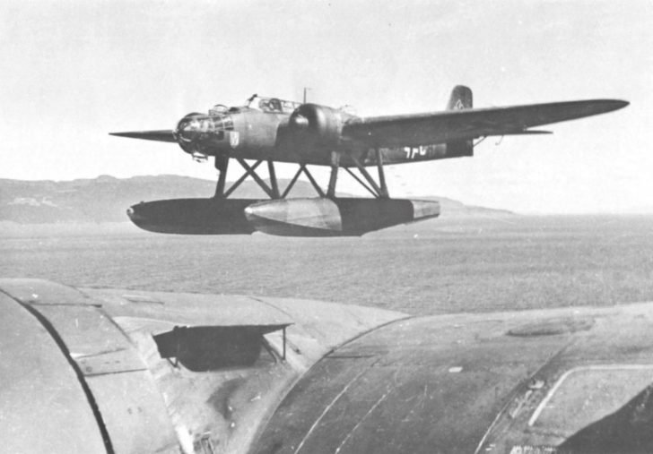 German He-115B-1 seaplane from the 506th coastal aviation group over the Norwegian coast