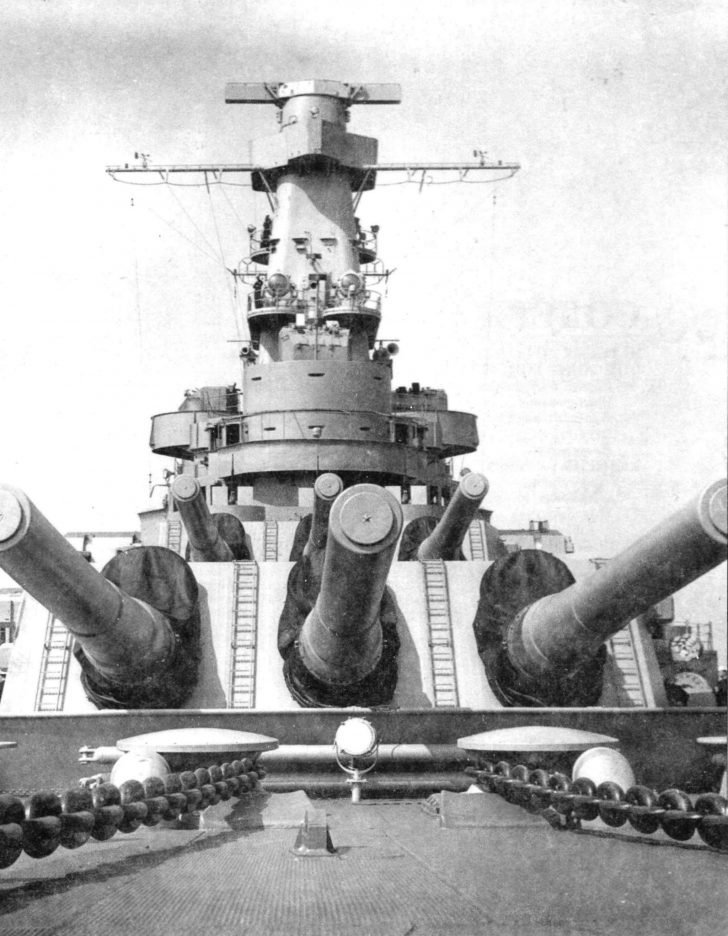 Nasal turrets and superstructure of the American Indiana battleship