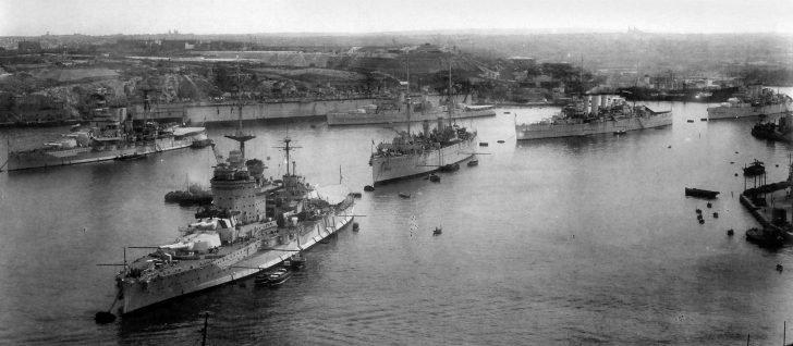 Royal Navy ships moored in Malta