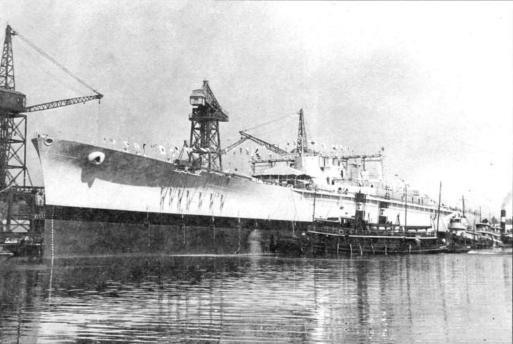 The body of the Massachusetts battleship