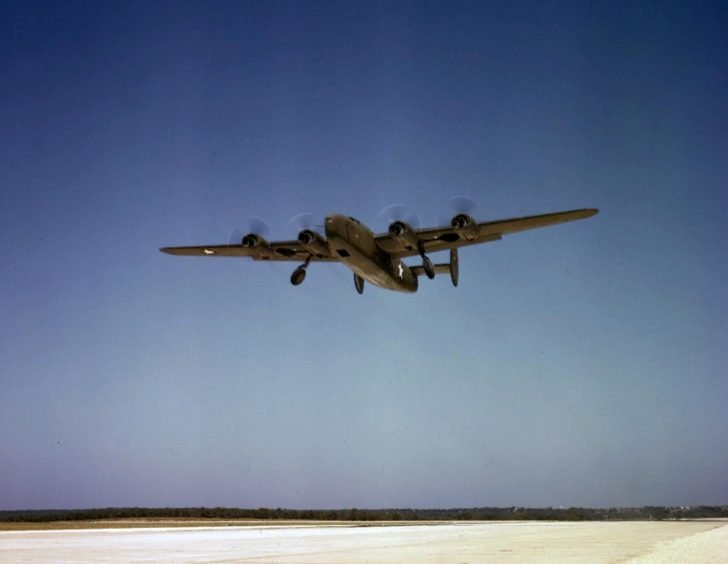 Consolidated C-87 Liberator landing after a training flight