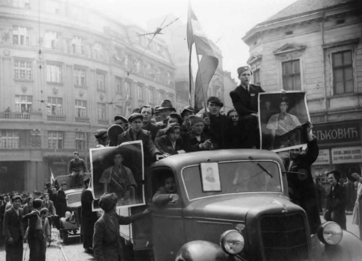 Belgrade residents welcome military coup March 27, 1941