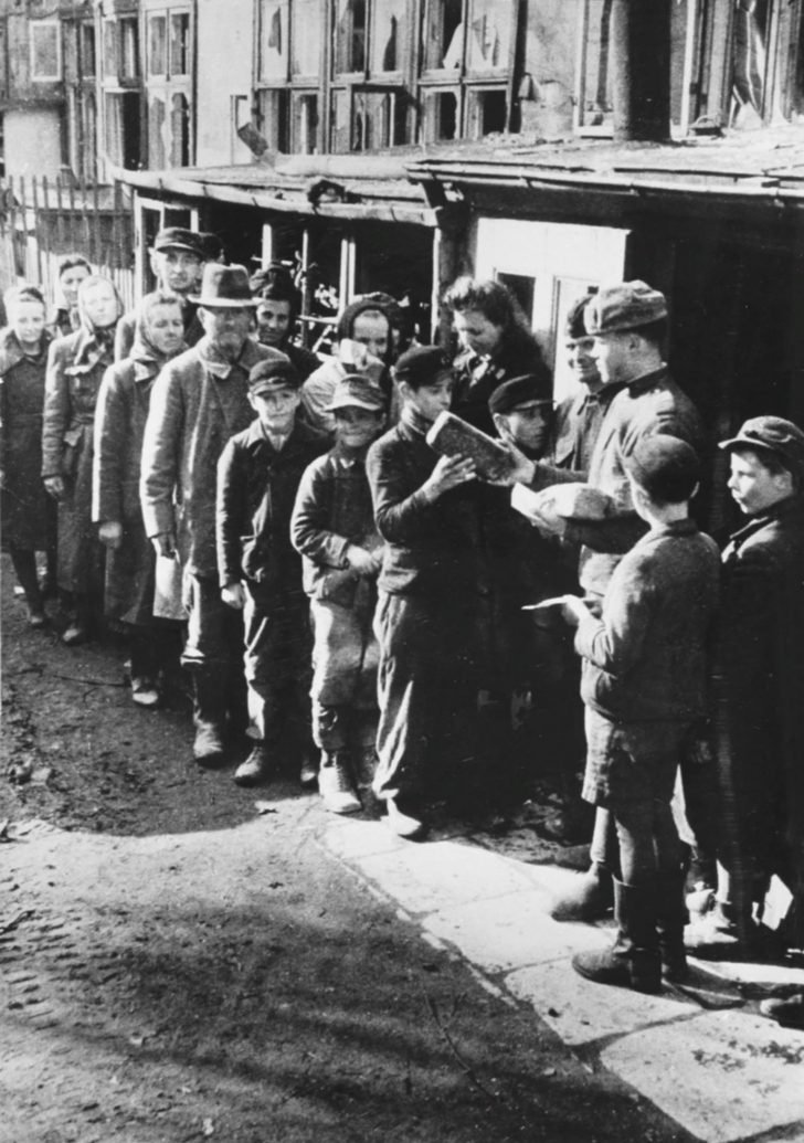 Soviet soldiers, residents of Breslau