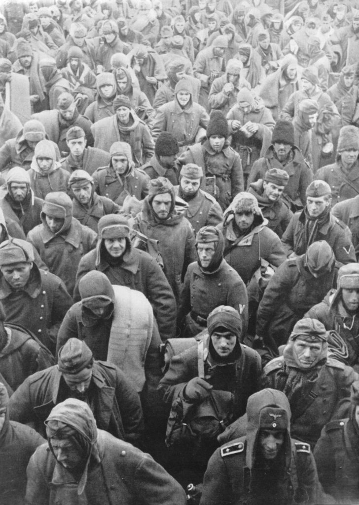 A convoy of captured Germans in Stalingrad