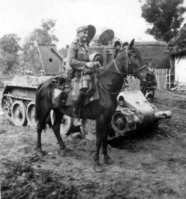 Equestrian soldier, BT-7A tank