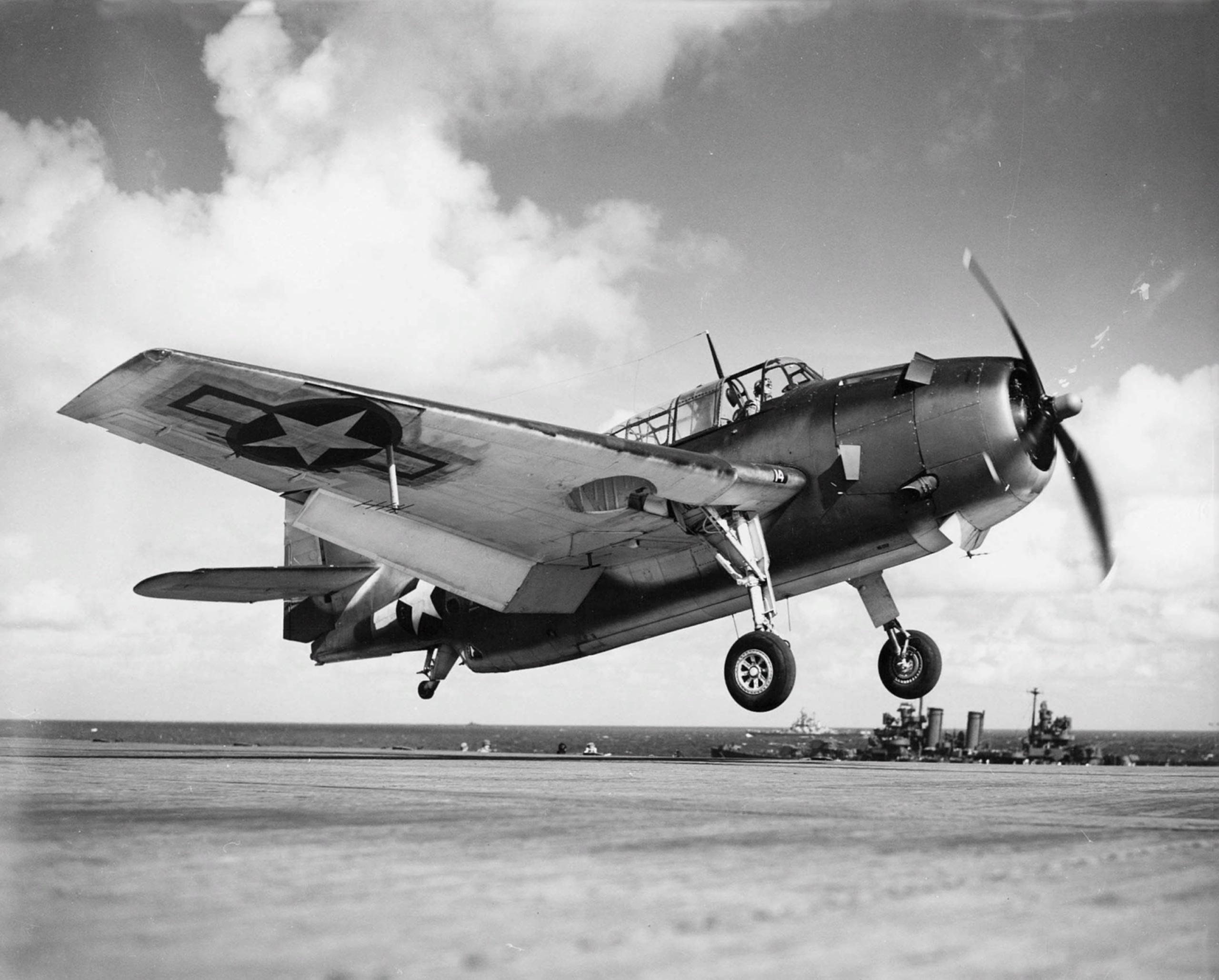 American Grumman TBF Avenger torpedo bomber takes off from Yorktown