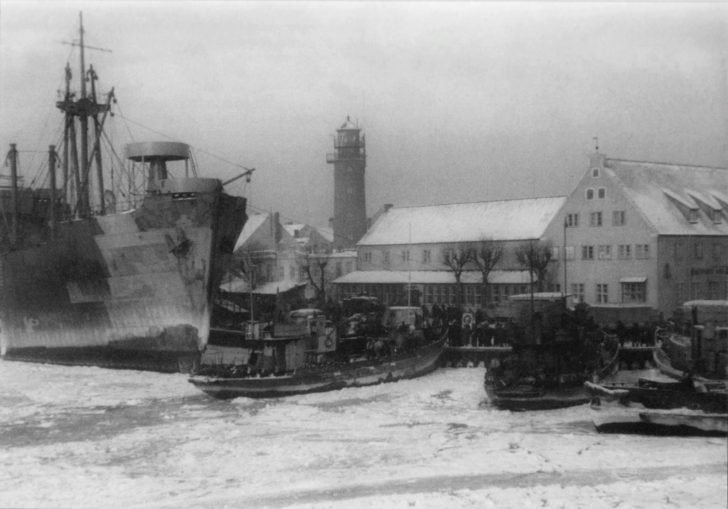 Ships in the frozen harbor