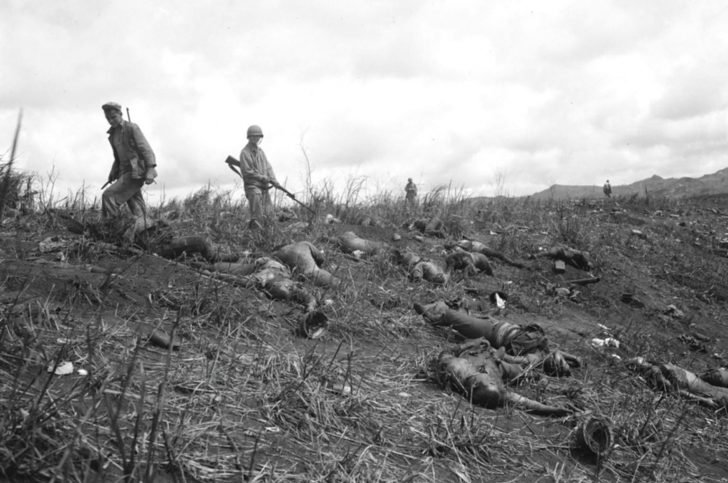 The bodies of Japanese soldiers