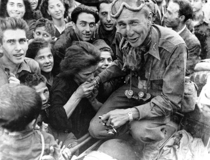 Italian woman, American soldier