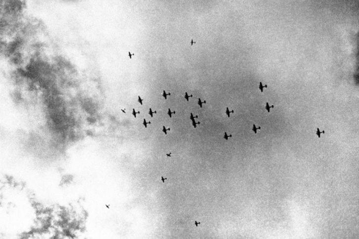 Hurricane fighters, Blenheim bombers