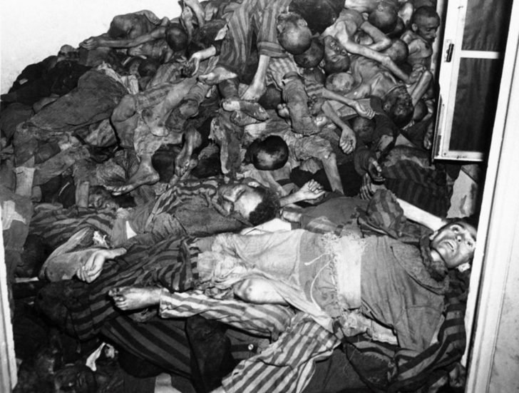 corpses of prisoners in the Dachau concentration camp