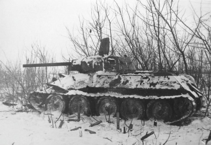T-34 tank with shielded turret