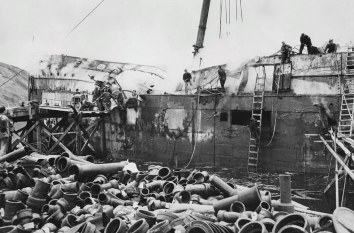 Ship heavily damaged