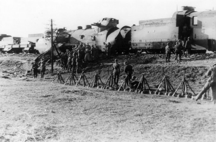 German soldiers, armored train