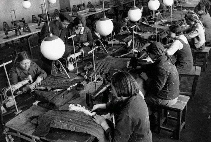 Sewing uniforms for the Red Army
