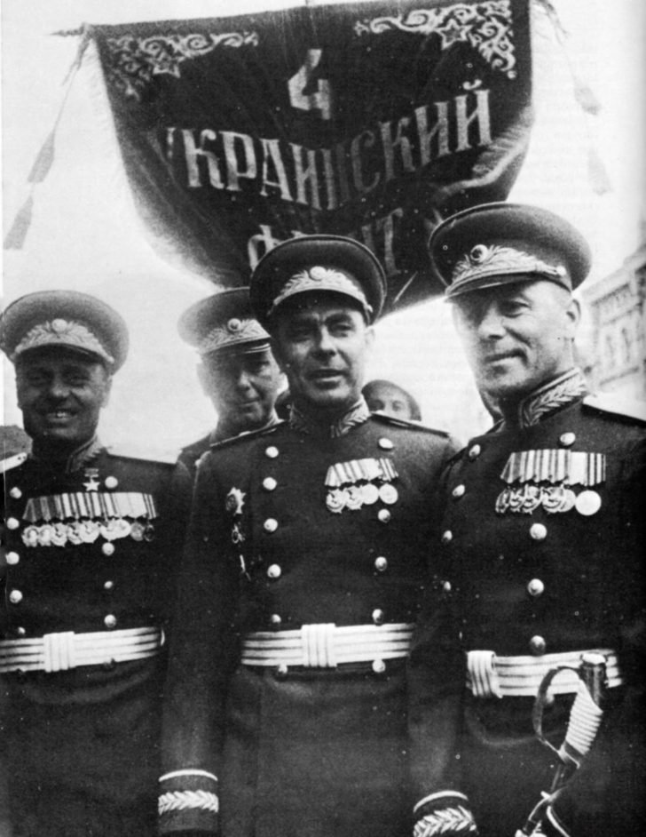 The head of the political department of the 4th Ukrainian Front, Leonid Brezhnev