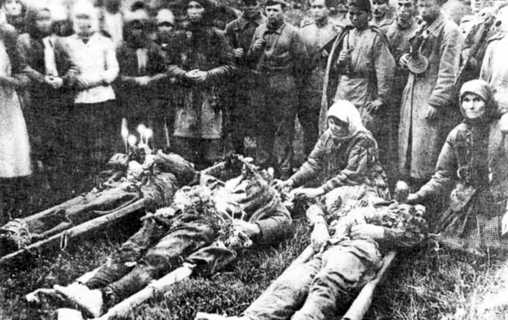 The mutilated bodies of the officers of the Red Army