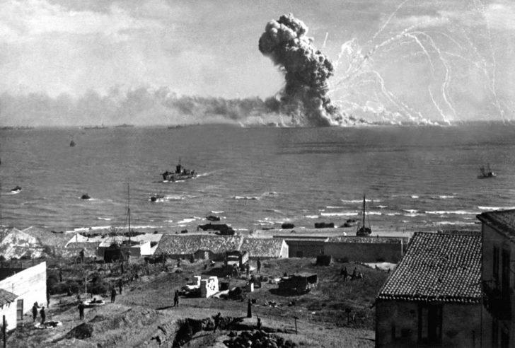 Explosion of an American ammunition transport ship