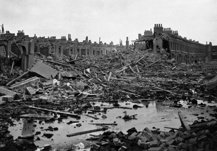 Destruction in the London docks area