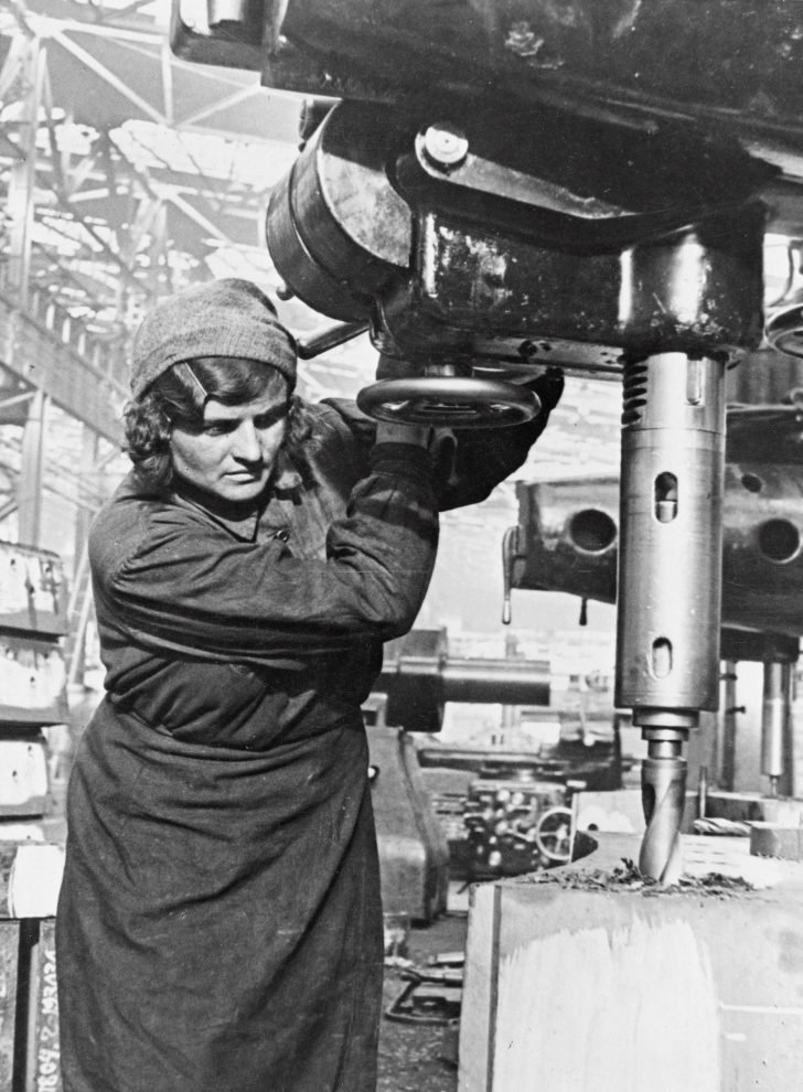 Soviet woman at a military factory